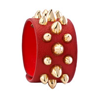 Man's Jewelry - STAINLESS STEEL STUDDED LIGHT RED LEATHER CUFF BRACELET alternate image 1.