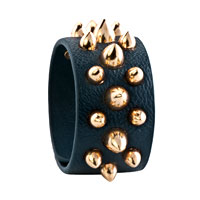 Man's Jewelry - STAINLESS STEEL STUDDED SAPPHIRE BLUE LEATHER CUFF BRACELET alternate image 1.