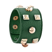Man's Jewelry - STAINLESS STEEL STUDDED EMERALD GREEN LEATHER CUFF BRACELET alternate image 1.