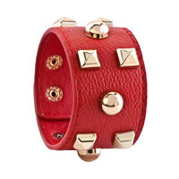 Bracelets - STUDDED LIGHT RED LEATHER CUFF BRACELET alternate image 1.