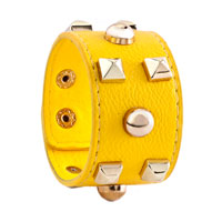 Man's Jewelry - STAINLESS STEEL STUDDED BRIGHT YELLOW LEATHER CUFF BRACELET alternate image 1.