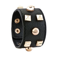 Man's Jewelry - STAINLESS STEEL STUDDED BLACK LEATHER CUFF BRACELET alternate image 1.