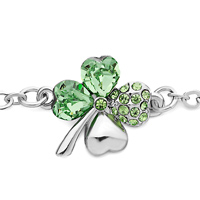Bracelets - CHAIN FOUR LEAF CLOVER AUGUST BIRTHSTONE PERIDOT CRYSTAL BRACELETS alternate image 1.