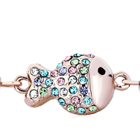 Keywords - ROSE GOLD CHAIN TRIPLE FISH COLORFUL CRYSTAL LOBSTER CLASP BRACELETS alternate image 1.