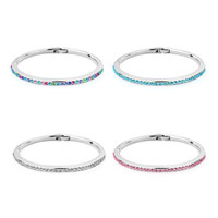 Keywords - SILVER CHAIN EMBEDDED APRIL BIRTHSTONE CLEAR CRYSTAL12 COLORS BRACELETS alternate image 2.