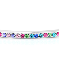 Keywords - SILVER CHAIN EMBEDDED COLORFUL AUSTRIAN CRYSTAL BRACELETS FOR WOMEN alternate image 1.