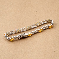 Bracelets - LIGHT YELLOW DIAMOND CUBIC ZIRCONIA TENNIS ACCENT INFINITY BRACELET alternate image 2.