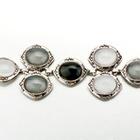 New Year Deals - BLACK WHITE GRAY OVAL STONE BRACELETS alternate image 1.