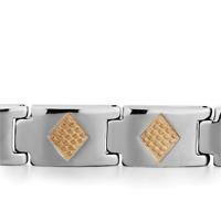 Bracelets - MEN'S STAINLESS STEEL BRACELETS CUFF BANGLE BRACELETS 10 LINKS GOLDEN RHOMBUS MEN'S BRACELET alternate image 1.