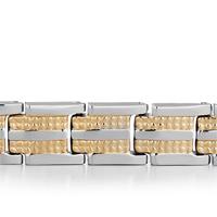 Bracelets - MEN'S STAINLESS STEEL BRACELETS CUFF BANGLE BRACELETS 18 LINKS MEN'S BRACELET alternate image 1.