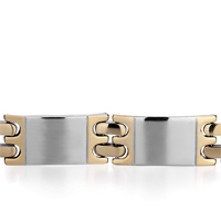 Bracelets - MEN'S STAINLESS STEEL BRACELETS CUFF BANGLE BRACELETS 7 LINKS MEN'S BRACELET alternate image 1.