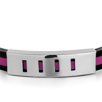 Bracelets - MEN'S STAINLESS STEEL BRACELETS CUFF BANGLE BRACELETS BLACK SILICONE BRACELET FUCHSIA LOOP ARC RECTANGLE PATTERN alternate image 1.