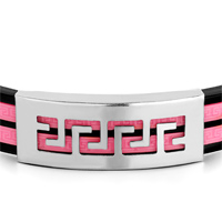 Bracelets - MEN'S STAINLESS STEEL BRACELETS CUFF BANGLE BRACELETS BLACK SILICONE BRACELET DOUBLE HOT PINK LOOPS STAINLESS RECTANGLE PATTERN alternate image 1.