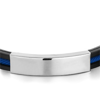 Bracelets - BLACK SILICONE BRACELET TWINED BLUE LOOP PLAIN RECTANGLE MEN'S STAINLESS STEEL BRACELETS CUFF BANGLE BRACELETS alternate image 1.