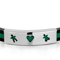 Bracelets - BLACK SILICONE GREEN LOOP RECTANGLE BOY GIRL IN LOVE BRACELET MEN'S STAINLESS STEEL BRACELETS CUFF BANGLE BRACELETS alternate image 1.