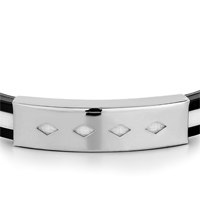 Bracelets - BLACK SILICONE WHITE LOOP PATTERN RECTANGLE RHOMBUSES BRACELET MEN'S STAINLESS STEEL BRACELETS CUFF BANGLE BRACELETS alternate image 1.