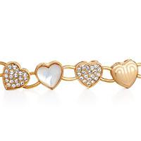 Bracelets - ALTERNATE GOLD HEART SHELL CLEAR RHINESTONE CRYSTAL PEARL LOBSTER CLASP EXTEND BRACELETS alternate image 1.