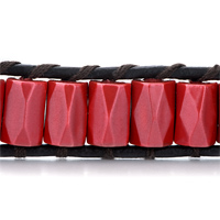 Bracelets - RED CERAMIC BARS ON BLACK LEATHER WRAP BRACELET METAL BUTTON alternate image 1.