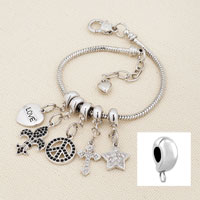 Charms Beads - SNAKE CHAIN STARTER DANGLE HEART FITS BEADS CHARMS BRACELETS FIT ALL BRANDS alternate image 1.
