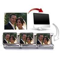 Italian Charms - SILVER TONE RECTANGLE CUSTOM PHOTO CHARM PHOTO ITALIAN CHARM alternate image 2.
