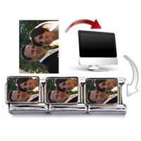 Italian Charms - SILVER TONE RECTANGLE CUSTOM PHOTO CHARM PHOTO ITALIAN CHARM alternate image 1.