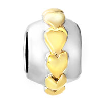 European Beads - 22K HEARTS ROW LOVE TWO TONE PLATED BEADS CHARMS BRACELETS alternate image 2.