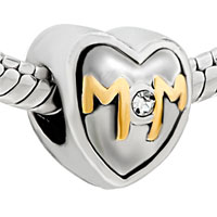 DPC0030: SILVER MOTHER DAUGHTER MOM RHINESTONE EUROPEAN BEAD CHARM BRACELETS alternate image 1.
