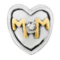 DPC0030: SILVER MOTHER DAUGHTER MOM RHINESTONE EUROPEAN BEAD CHARM BRACELETS alternate image 2.