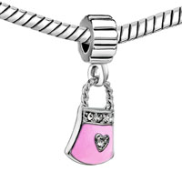 Charms Beads - SILVER ENAMEL RHINESPURSE HANDBAG ROSE PINK OCTOBER CHARM SPACER alternate image 1.