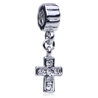 DPC0095: DANGLING LUCKY CROSS AMULET PATTERN EUROPEAN CHARM BEAD BRACELET alternate image 1.