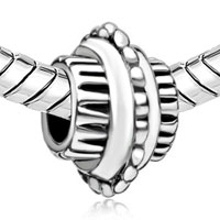 European Beads - CYLINDRICAL SHAPED BIKE WHEEL SILVER PLATED BEADS CHARMS BRACELETS alternate image 1.