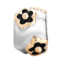 European Beads - 22K CYLINDRICAL FLOWER TWO TONE PLATED BEADS CHARMS BRACELETS alternate image 2.
