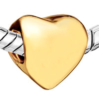 Charms Beads - 22K GOLDEN HEART CHARM BRACELET EUROPEAN BEAD GIFTS FOR MOTHER alternate image 1.