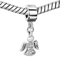 Charms Beads - ANGEL WINGS WITH WHITE APRIL BIRTHS FANCY CHARM BRACELET SPACER DANGLE alternate image 1.