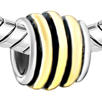Charms Beads - STRIPED CIRCLE ANIMAL BLACK FIT TWO TONE PLATED BEADS CHARMS BRACELETS ALL BRANDS alternate image 1.