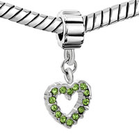 Charms Beads - AUGUST PERIDOT COLOR BIRTHS OPEAN HEART CHARM BRACELET SPACER DANGLE alternate image 1.