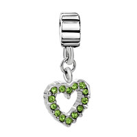 Charms Beads - AUGUST PERIDOT COLOR BIRTHS OPEAN HEART CHARM BRACELET SPACER DANGLE alternate image 2.