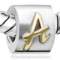 European Beads - LETTER A ALPHABET FIT ALL BRANDS TWO TONE PLATED BEADS CHARMS BRACELETS alternate image 1.