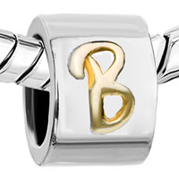 Charms Beads - CYLINDRICAL SHAPED LETTER INITIAL B ALPHABET TWO TONE PLATED BEADS CHARMS BRACELETS FIT ALL BRANDS alternate image 1.