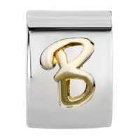 Charms Beads - CYLINDRICAL SHAPED LETTER INITIAL B ALPHABET TWO TONE PLATED BEADS CHARMS BRACELETS FIT ALL BRANDS alternate image 2.