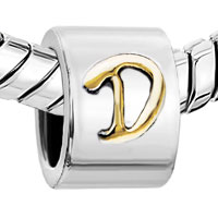 European Beads - CYLINDRICAL SHAPED LETTER D TWO TONE PLATED BEADS CHARMS BRACELETS alternate image 1.