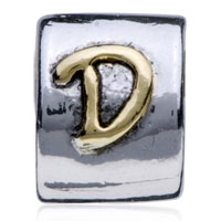 European Beads - CYLINDRICAL SHAPED LETTER D TWO TONE PLATED BEADS CHARMS BRACELETS alternate image 2.