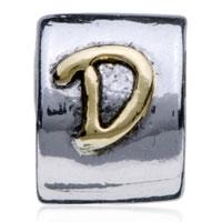 Charms Beads - SILVER PLATED LETTER BRACELET CHARM INITIAL D ALPHABET EUROPEAN BEAD alternate image 2.