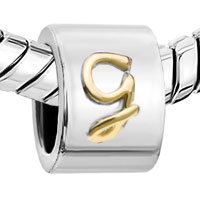 Charms Beads - CYLINDRICAL SHAPED LETTER INITIAL G ALPHABET TWO TONE PLATED BEADS CHARMS BRACELETS FIT ALL BRANDS alternate image 1.