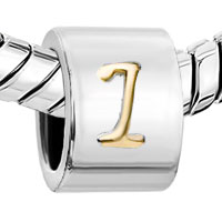 Charms Beads - CYLINDRICAL SHAPE LETTER BRACELET CHARMS INITIAL I ALPHABET BEADS alternate image 1.