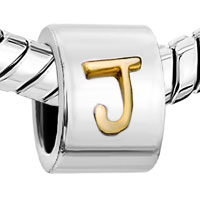 Charms Beads - SILVER PLATED LETTER BRACELET CHARM INITIAL J ALPHABET EUROPEAN BEAD alternate image 1.