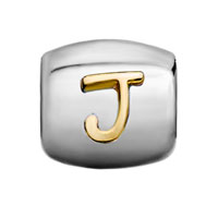 Charms Beads - SILVER PLATED LETTER BRACELET CHARM INITIAL J ALPHABET EUROPEAN BEAD alternate image 2.