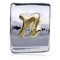 Charms Beads - SILVER LETTER BRACELET CHARM INITIAL N CHARM ALPHABET EUROPEAN BEAD alternate image 2.
