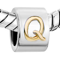 Charms Beads - SILVER LETTER BRACELET CHARM INITIAL Q CHARM ALPHABET EUROPEAN BEAD alternate image 1.