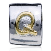 Charms Beads - SILVER LETTER BRACELET CHARM INITIAL Q CHARM ALPHABET EUROPEAN BEAD alternate image 2.